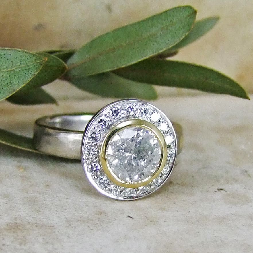 Snowflake Diamond Unusual Engagement Ring