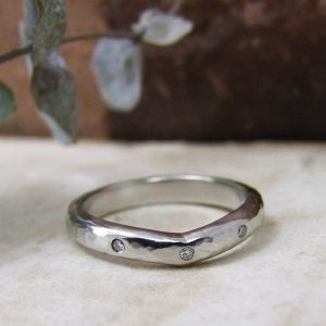 Wishbone palladium and diamond wedding ring