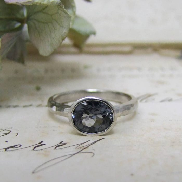 Grey Spinel Palladium Ring