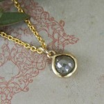 Grey Rose Cut Diamond Pebble Pendant