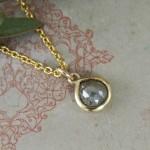 Grey Rose Cut Diamond Pebble Pendant