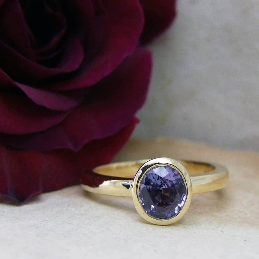 Lavender Sapphire Polished Gold Engagement Ring