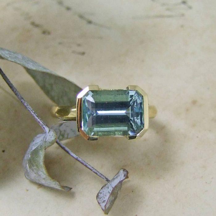 Aquamarine & Gold Handmade Ring