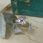 Old Mine Cut Diamond White & Yellow Gold Engagement Ring