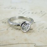 Old Mine Cut Diamond Handmade Platinum Engagement Ring