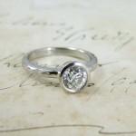 Old Mine Cut Diamond Handmade Platinum Engagement Ring