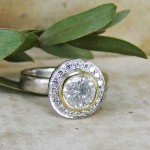 Snowflake Diamond Unusual Engagement Ring