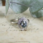 Petrol Blue Sapphire Halo Ring