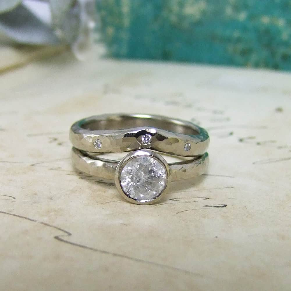 Snowflake Diamond Handmade Wedding & Engagement Ring