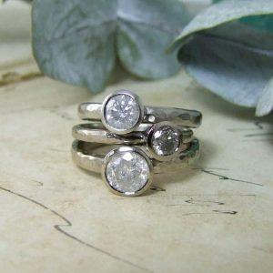 Snowflake Diamonds Hammered Rings