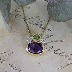 Amethyst Diamond & Peridot Handmade Gold Pendant