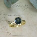 Bottle Blue Green Sapphire Engagement Ring