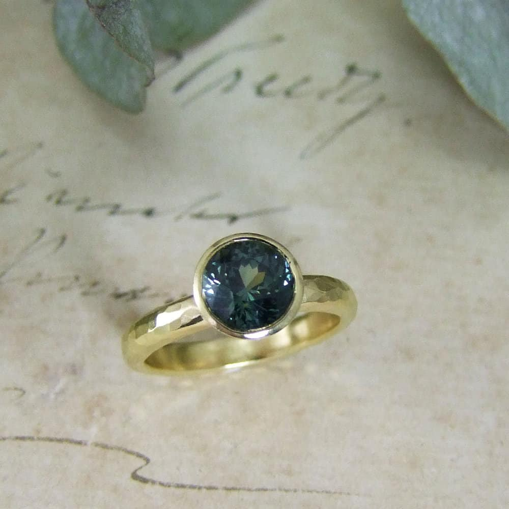 Bottle Blue Green Sapphire Engagement Ring