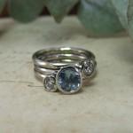 Handmade Diamond & Pale Blue Sapphire S