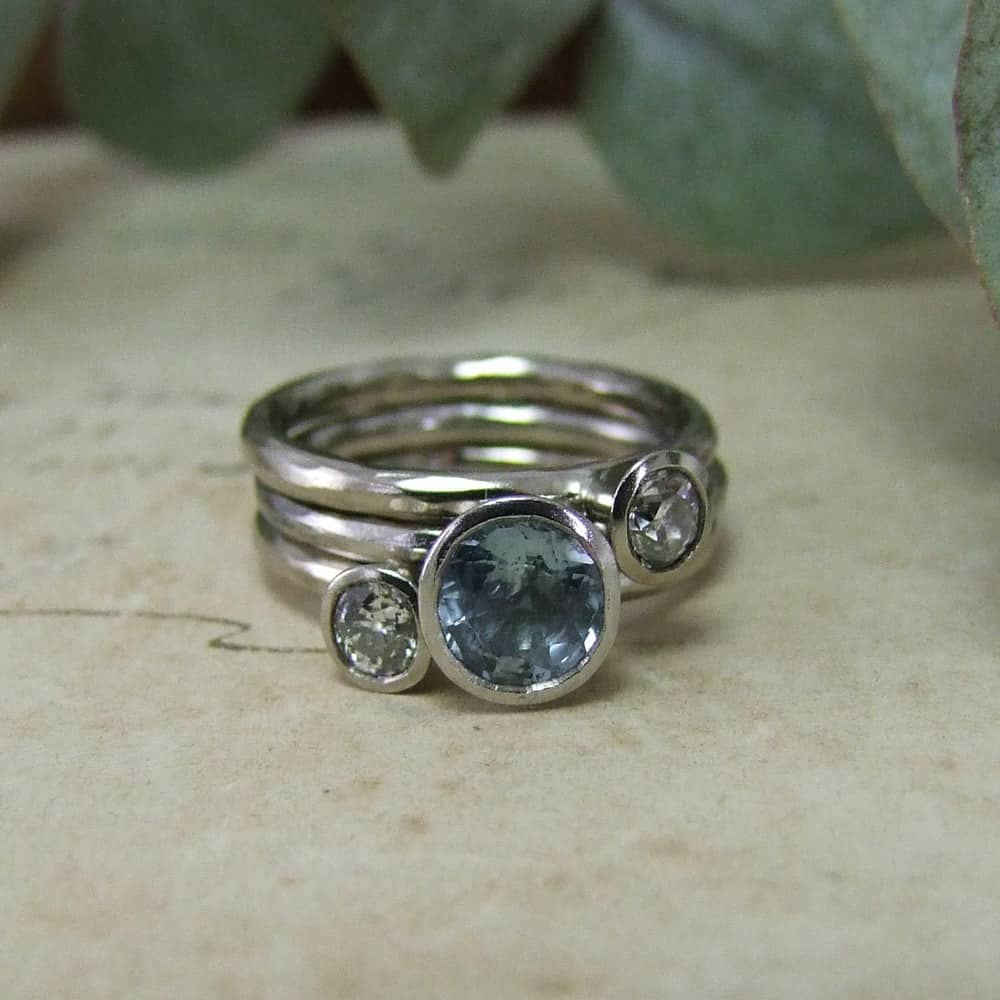 Handmade Diamond & Pale Blue Sapphire Stacking Ring