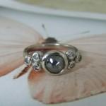 Rose Cut Diamond & Grey Diamond Ring