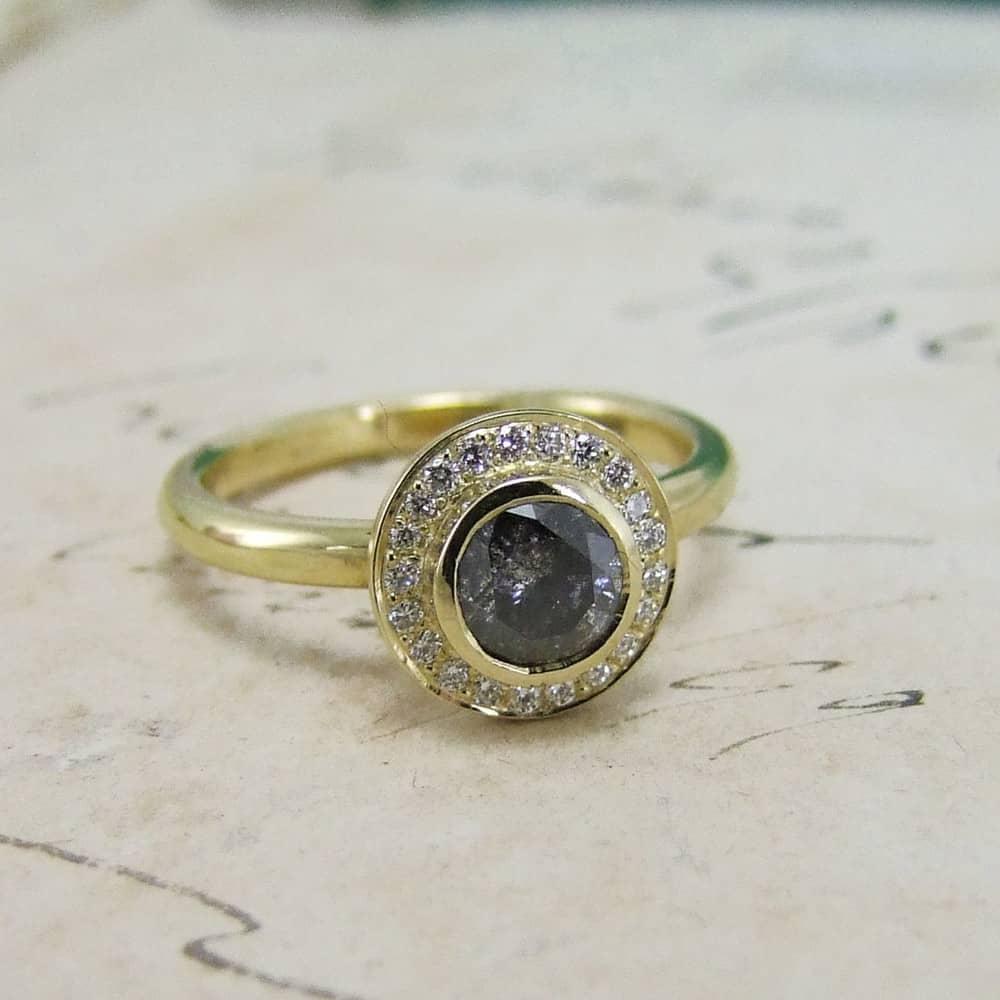 Grey diamond halo ring