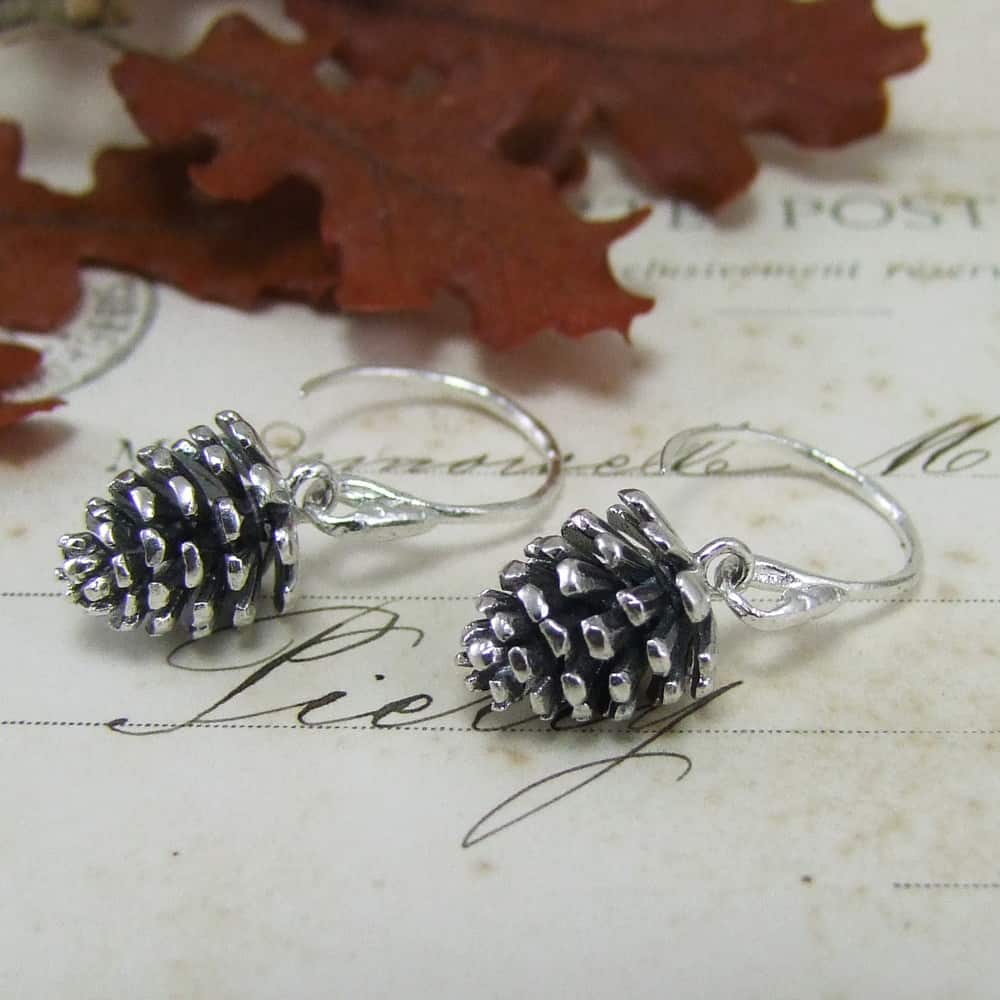 Large Pine Cone Drop Earrings