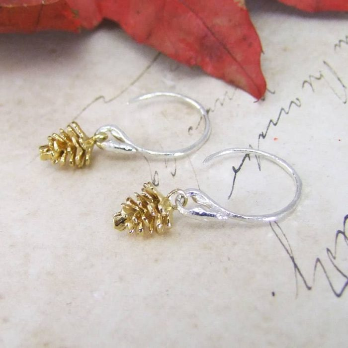 Winter Moon Pine Cone Drop Earrings