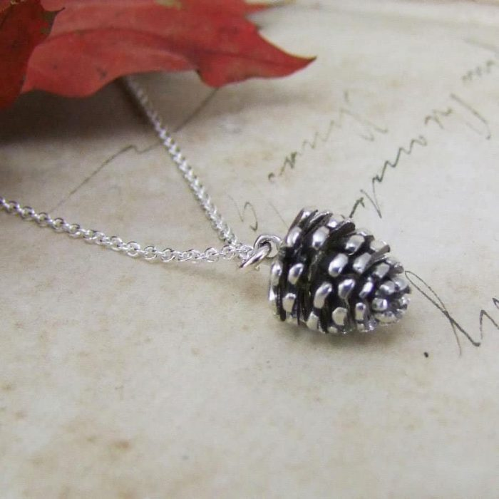 Winter Moon Pine Cone Pendant