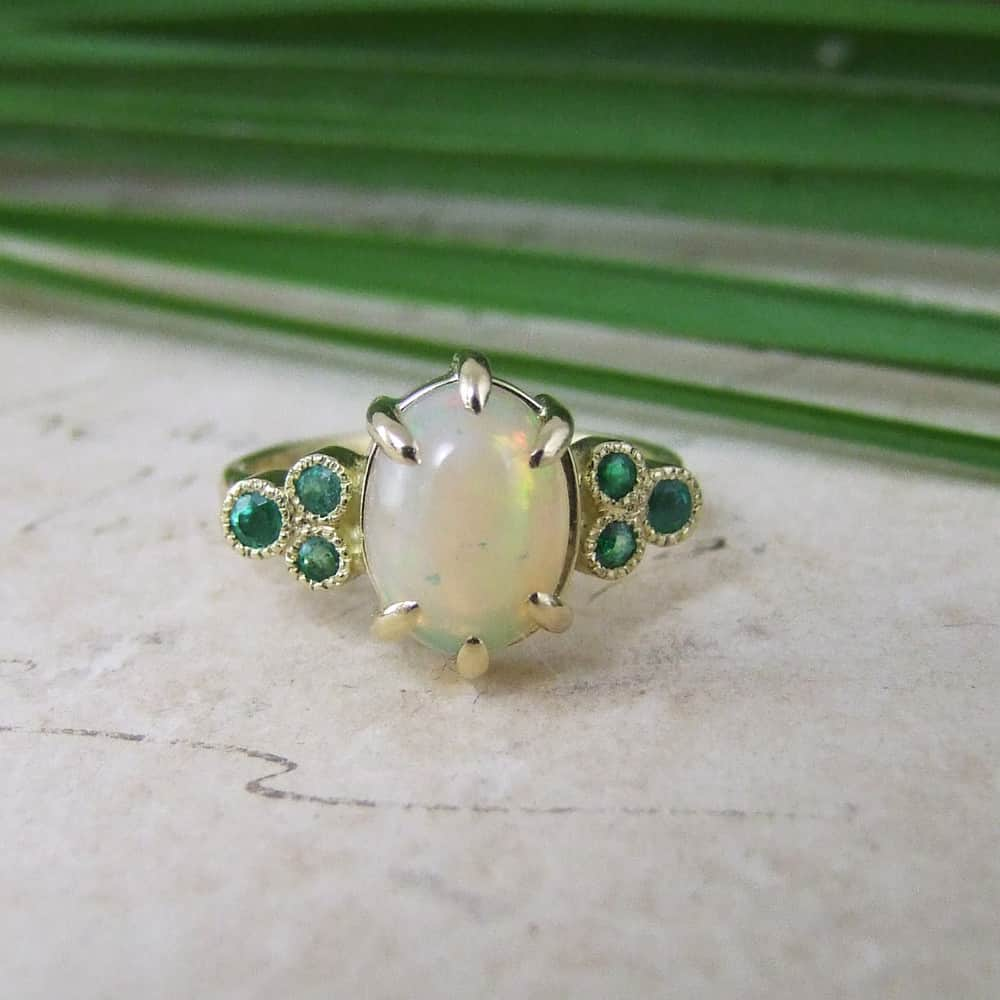 Bespoke Opal & Emerald Ring