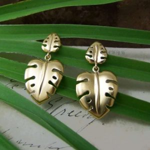 Cheese-Plant-Gold-Earrings