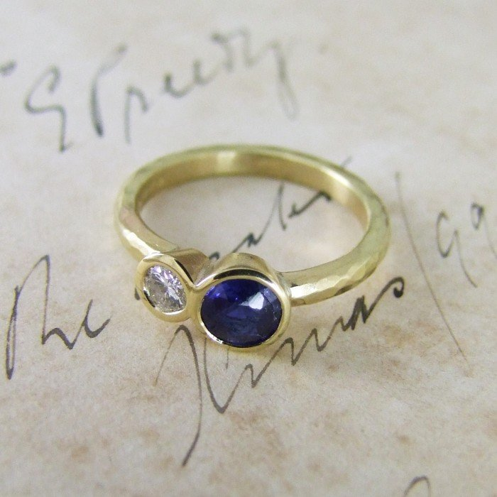 Sapphire & Diamond Bespoke Re-modelled Ring