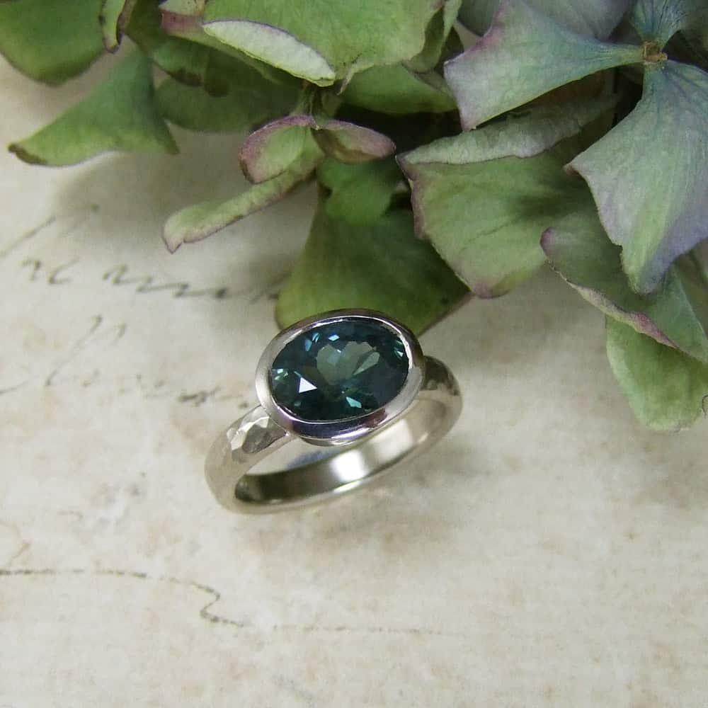 Petrol Blue Sapphire 18ct White Gold Ring