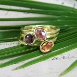 Sapphire, Spinel And Orange Garnet Stacking Rings