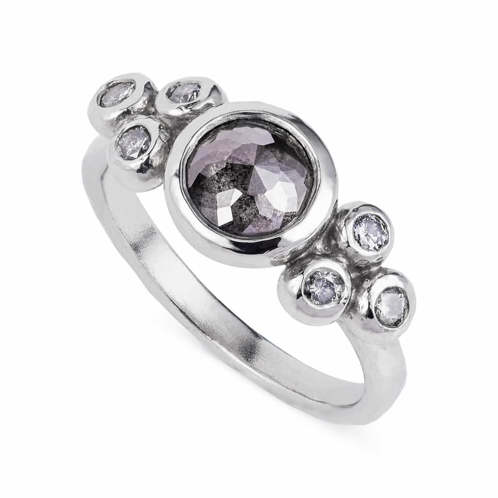 Charcoal Rose Cut Diamond Ring