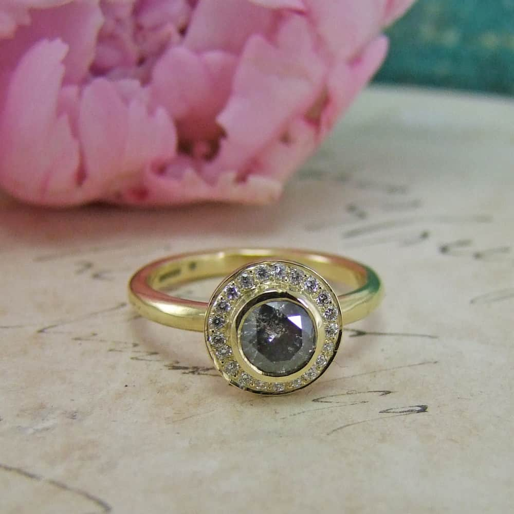 Grey Diamond Yellow Gold Halo Engagement Ring