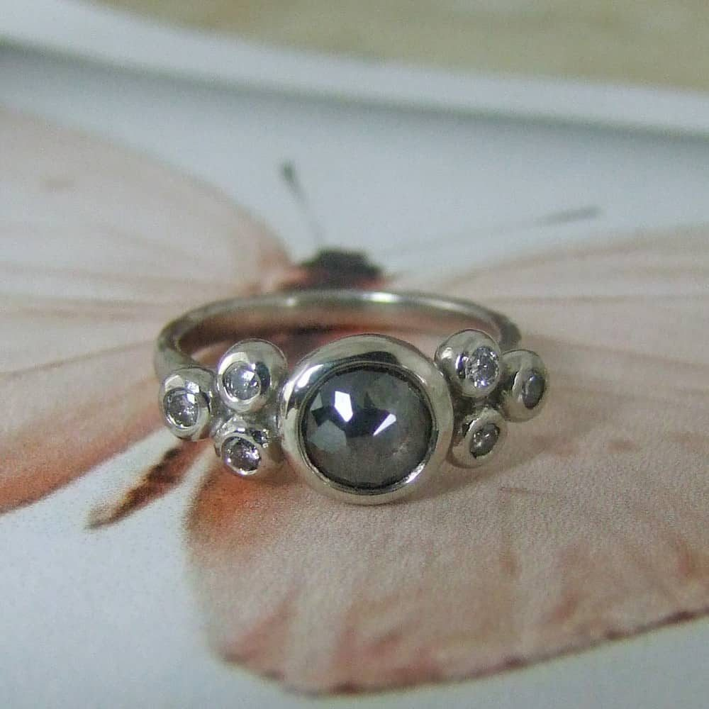 Rose Cut Diamond & Grey Diamond Ring