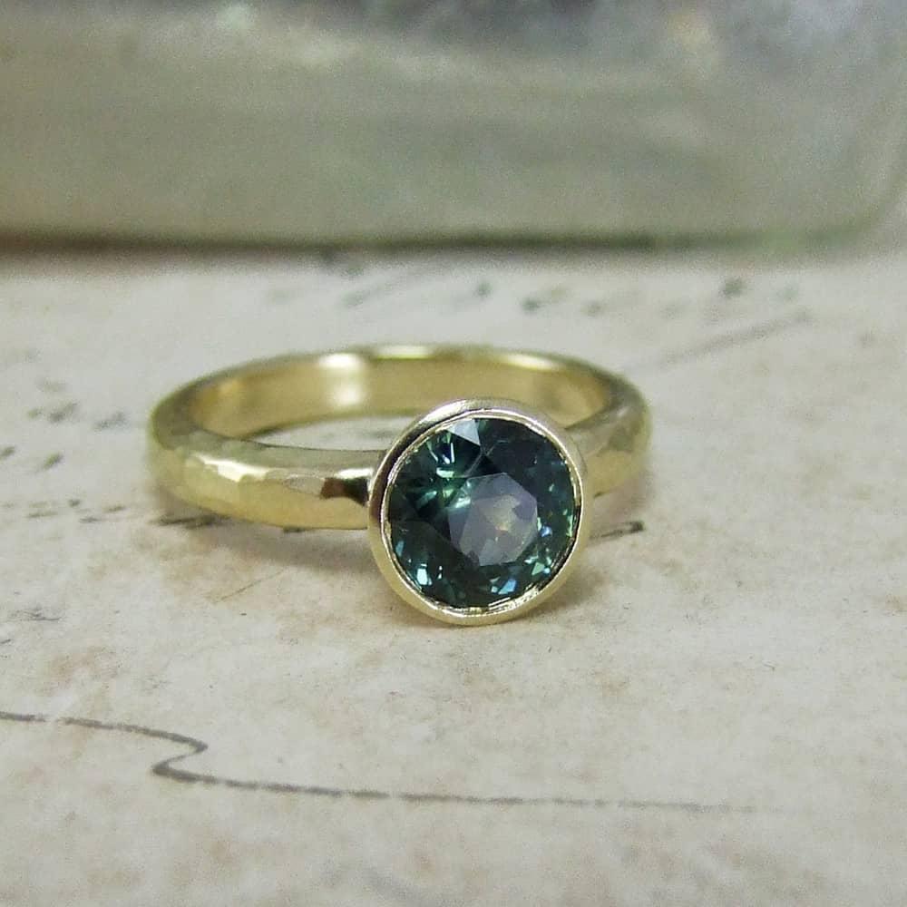 Handmade Green Sapphire Engagement Ring