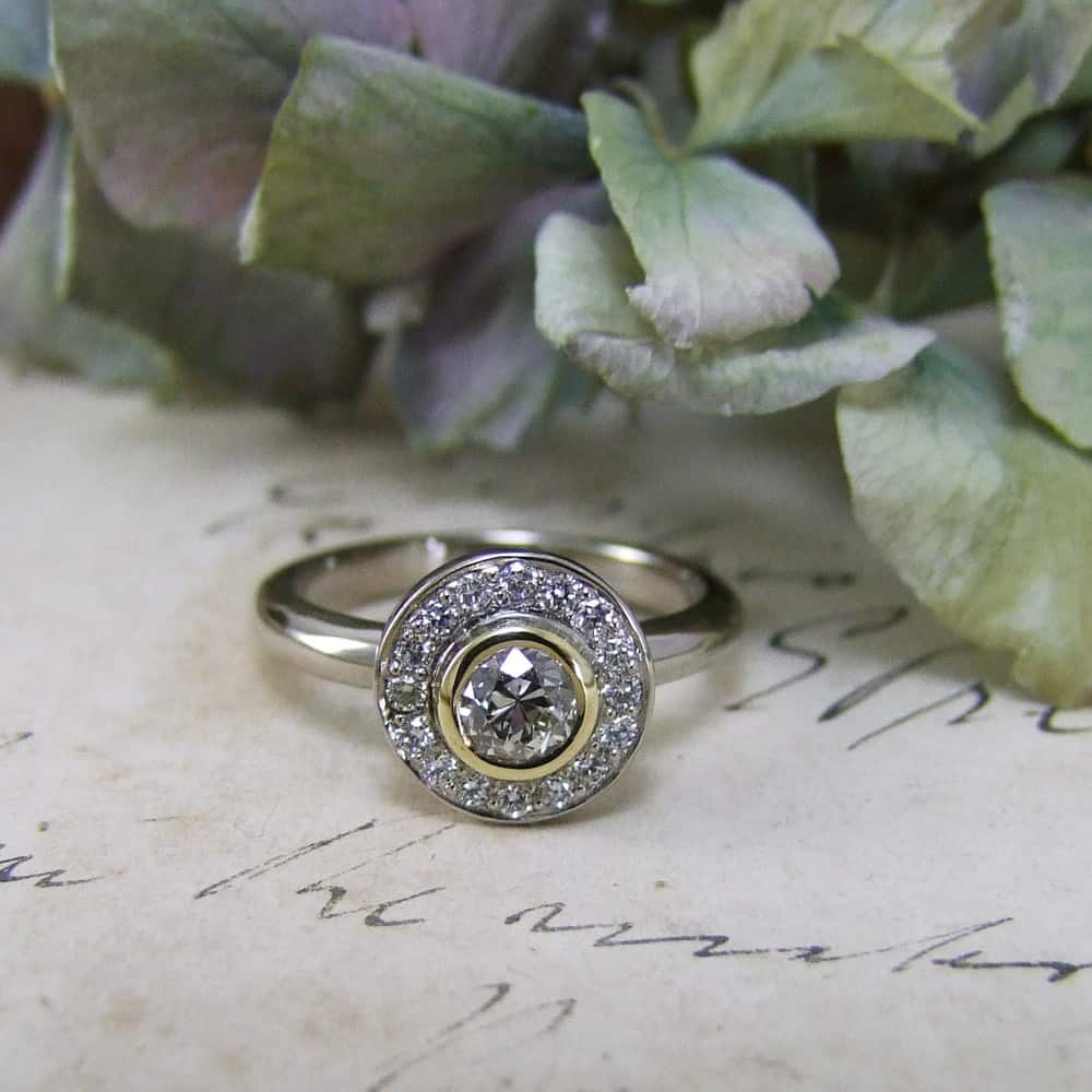 Old Mine Cut Diamond White & Yellow Gold Halo Engagement Ring