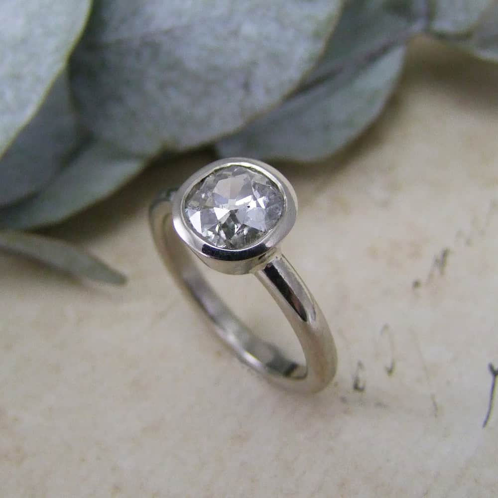 Cushion Old Cut Diamond Engagement Ring