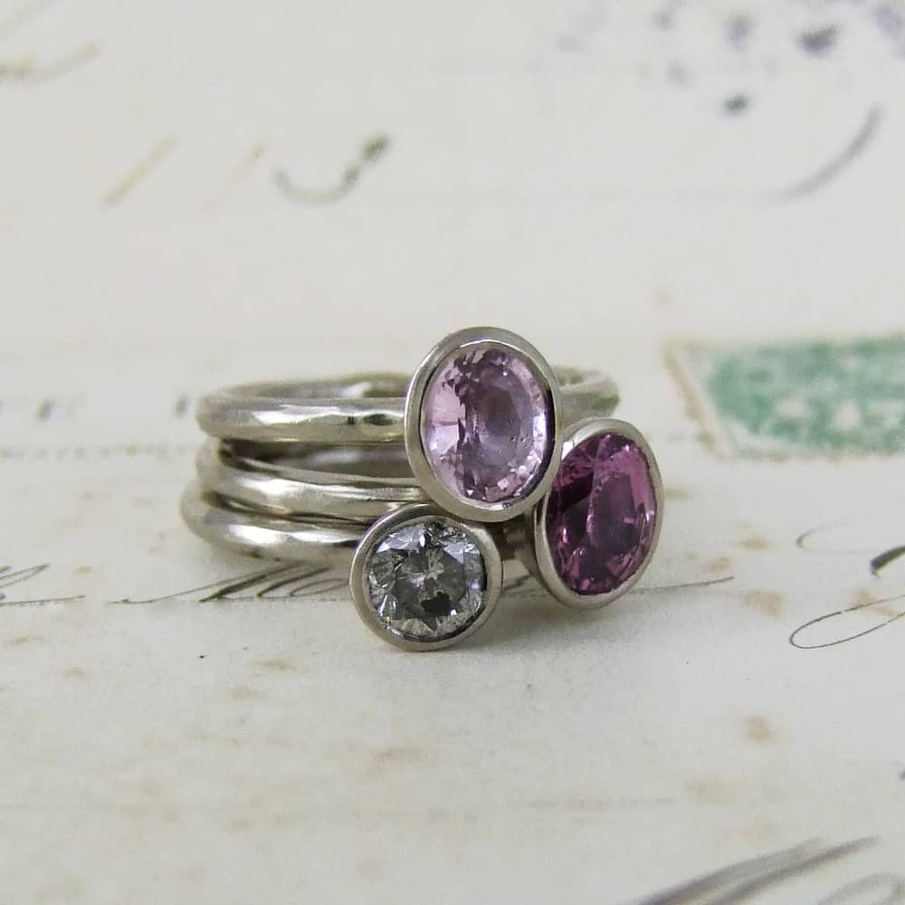 Pink Sapphire And Grey Diamond Stacking Rings