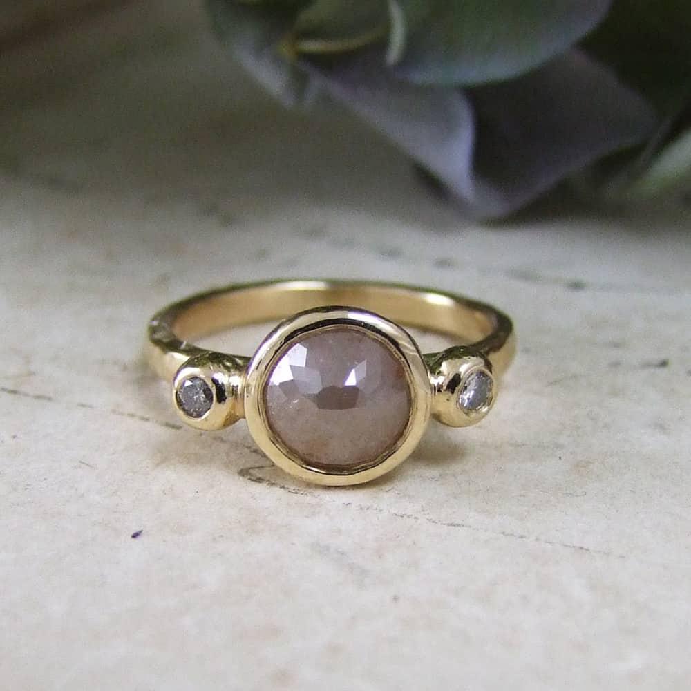 514fa670b3 Three stone rose cut diamond ring
