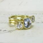 Handmade Sapphire And Diamond Stacking Rings