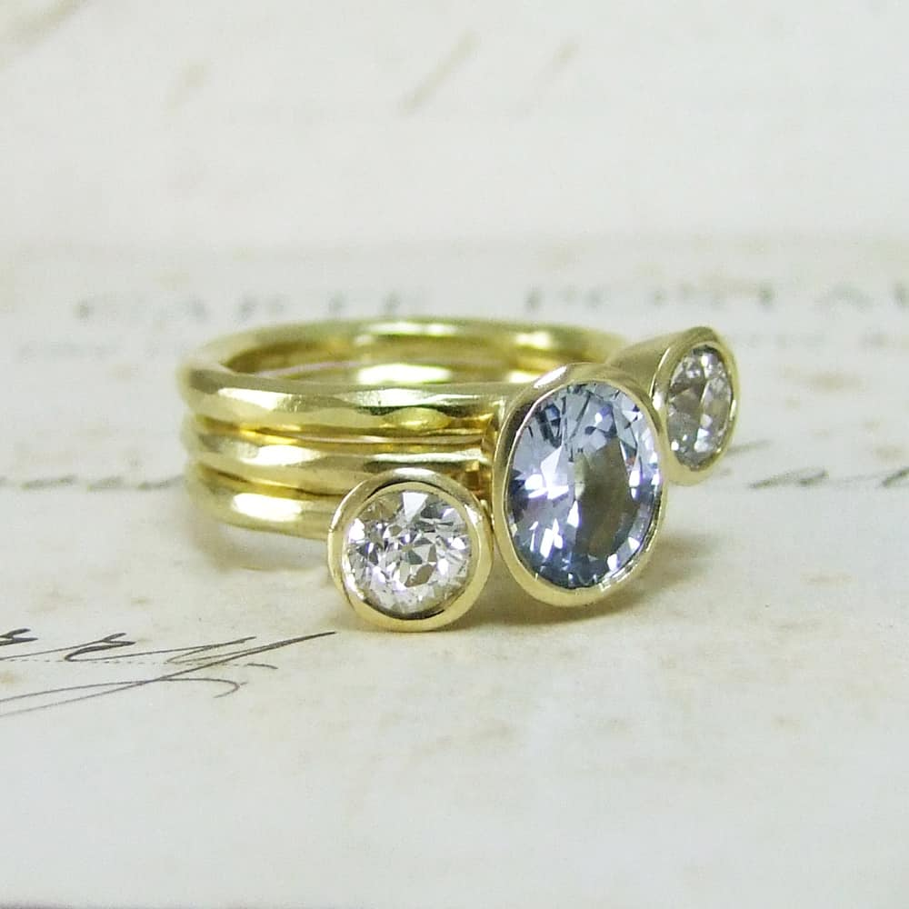 Handmade Sapphire And Diamond Stacking Rings