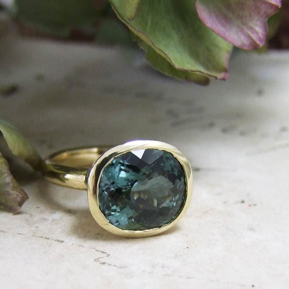 Petrol Blue Tourmaline Handmade Ring