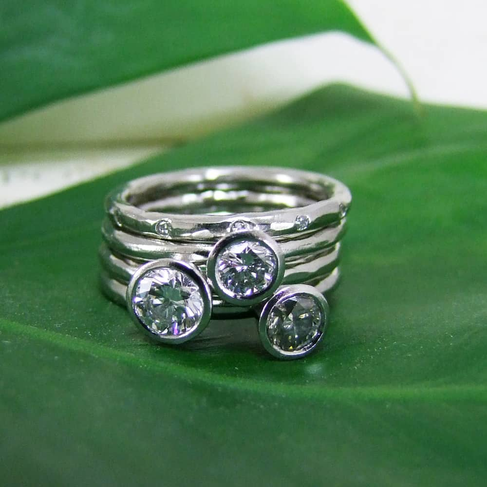 White And Grey Diamond Handmade Stacking Rings
