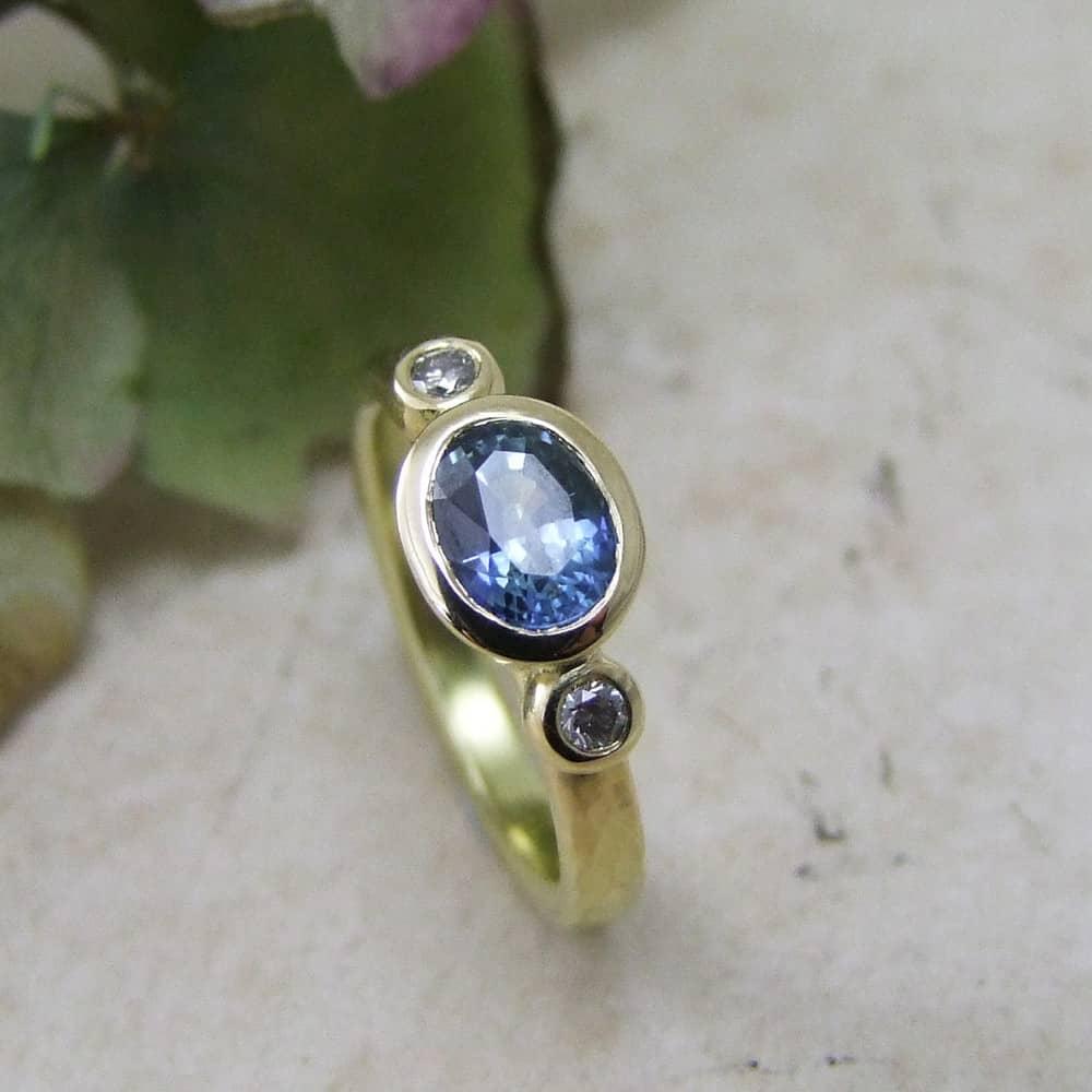Sapphire & Grey Diamond Engagement Ring