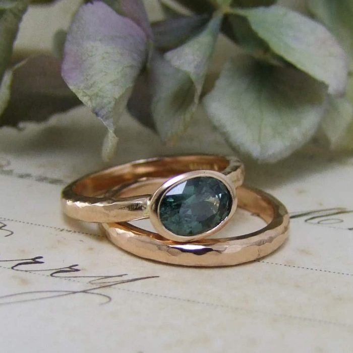 Teal Sapphire Rose Gold Engagement Ring