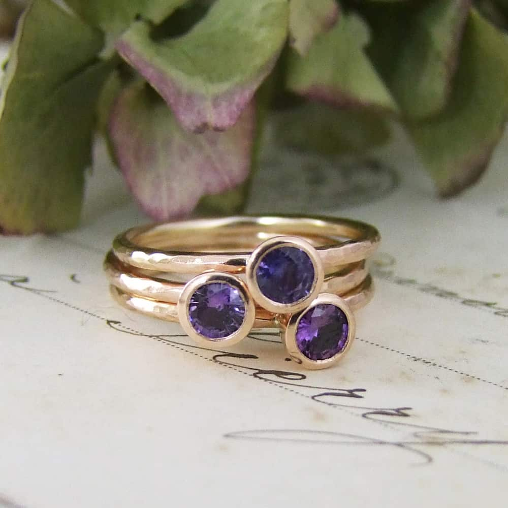 Purple Sapphire Rose Gold Stacking Rings