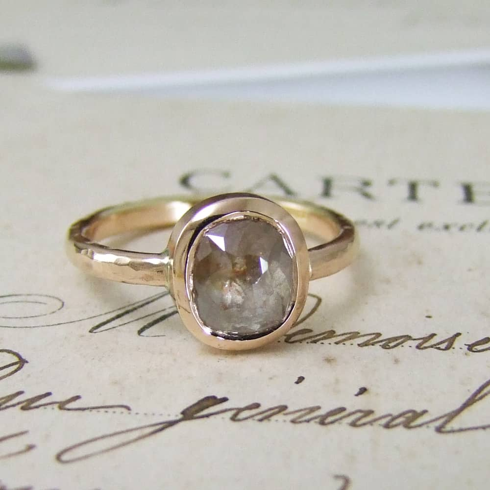 Rose Gold Rose Cut Diamond Handmade Ring