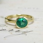 Oval Emerald Yellow Gold Handmade Ring