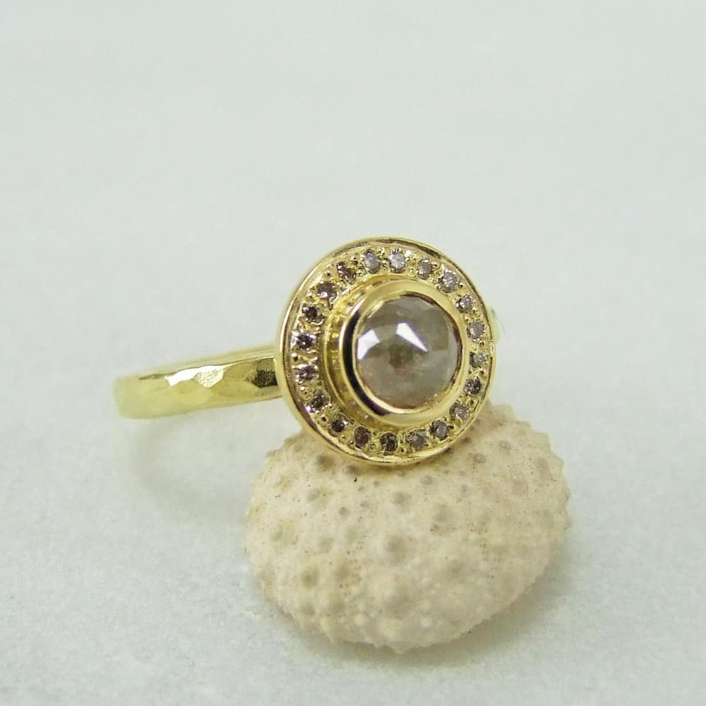 Cinnamon Rose Cut Diamond Halo Ring