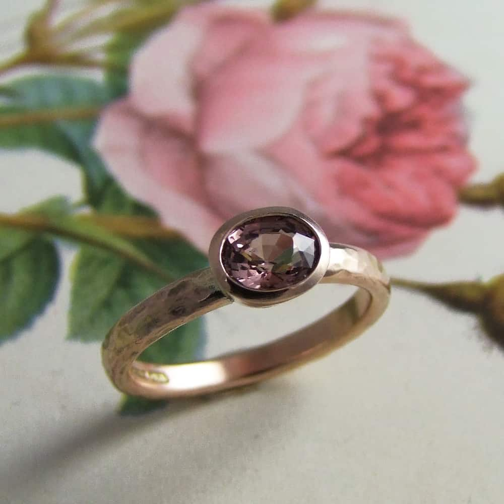 Oval Peach Pink Sapphire Ring