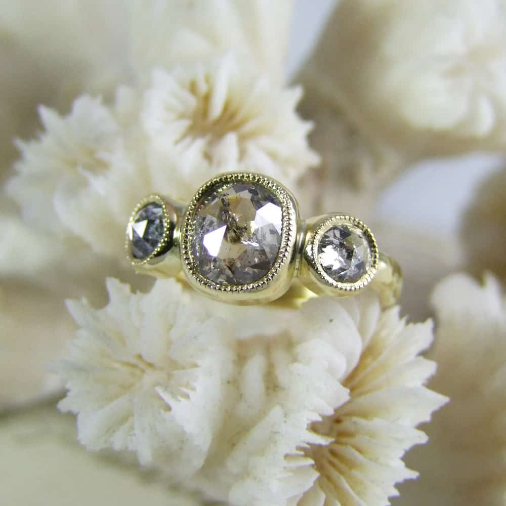 Handmade Rose Cut Diamond Millegrain Ring