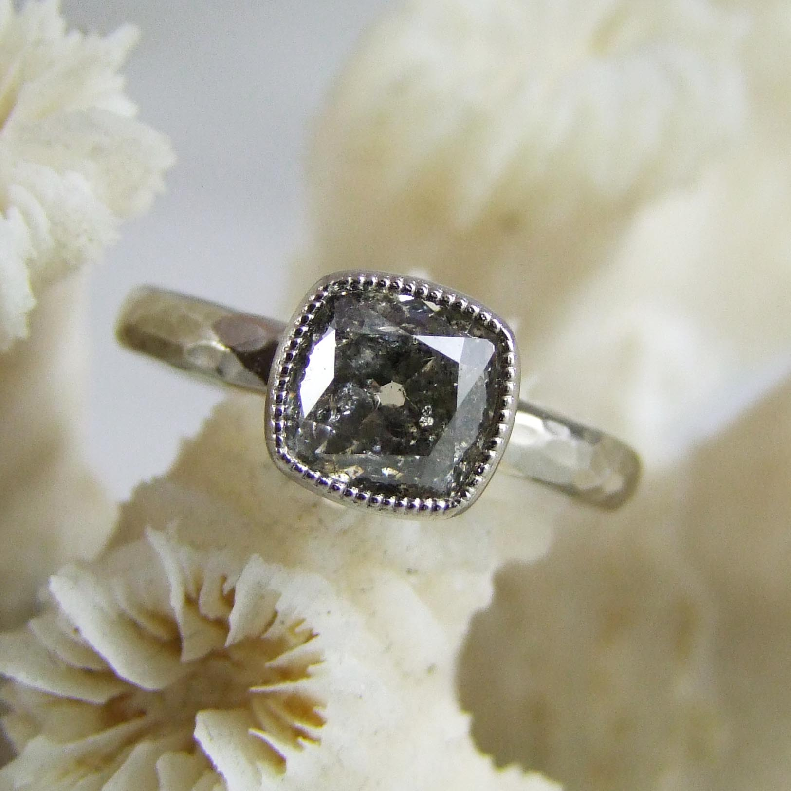 Salt And Pepper Cushion Cut Diamond Millegrain Ring